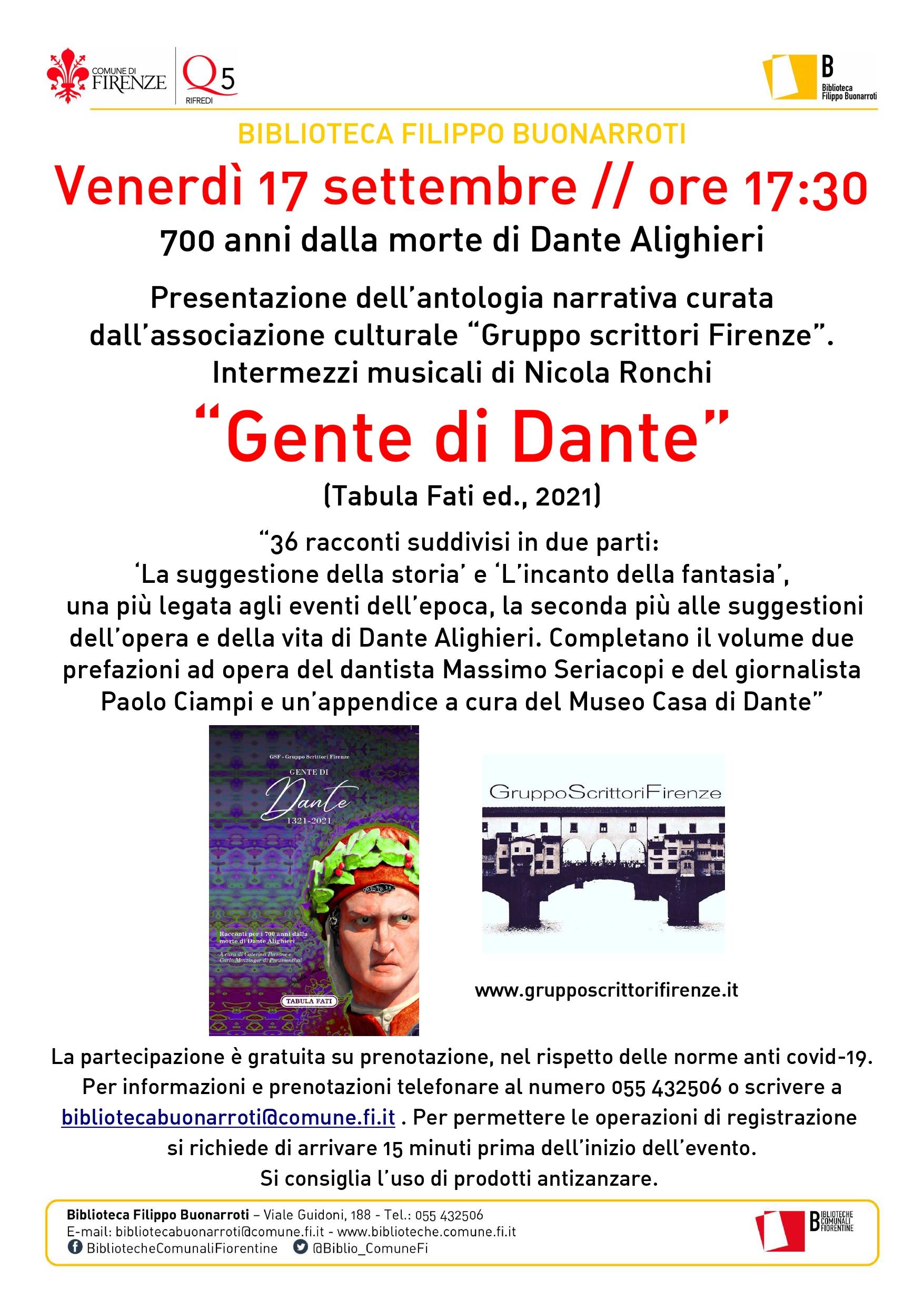 Dante antologia 17 settembre 2021 Buonarroti